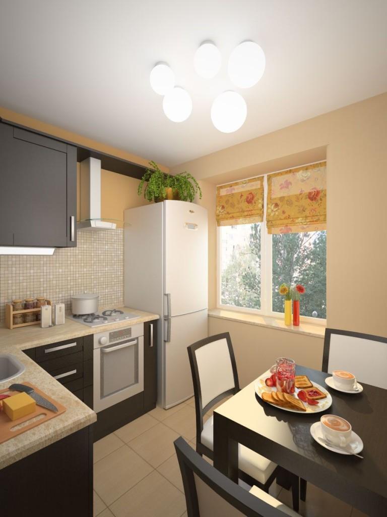 Угловой гарнитур и обеденный стол на кухне
