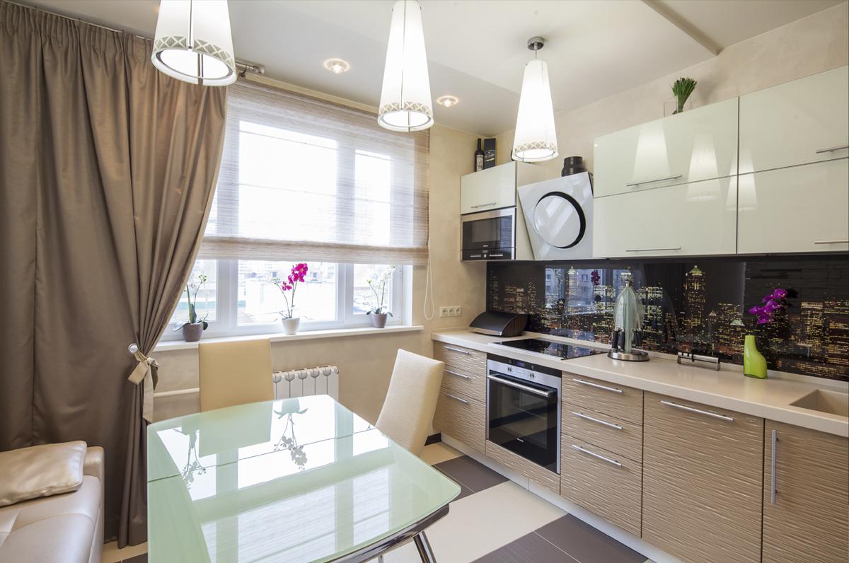 Белый, бежевый и мятный цвета в интерьере кухни