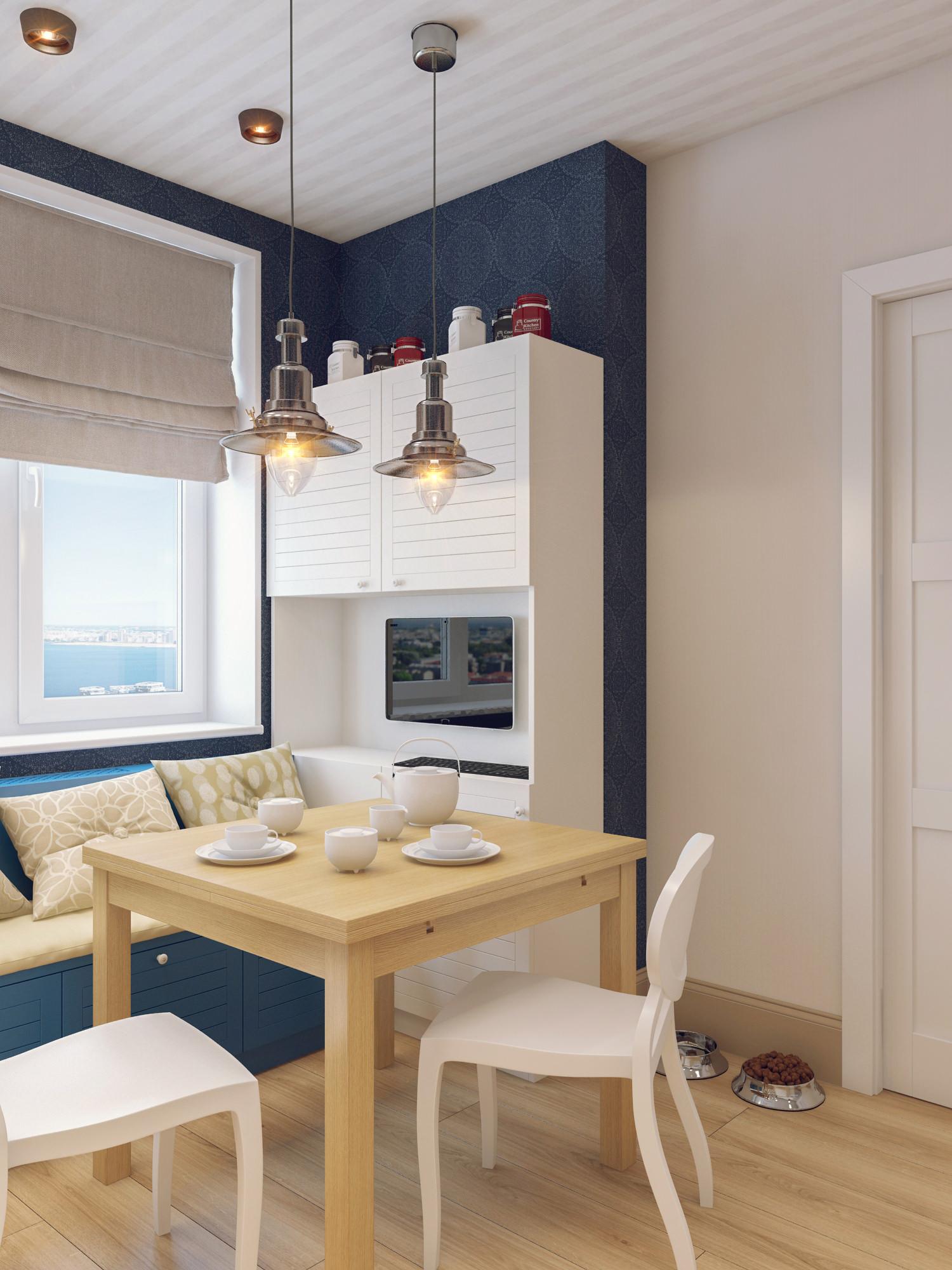 Синий, бежевый и белый цвета в дизайне кухни 10 кв м