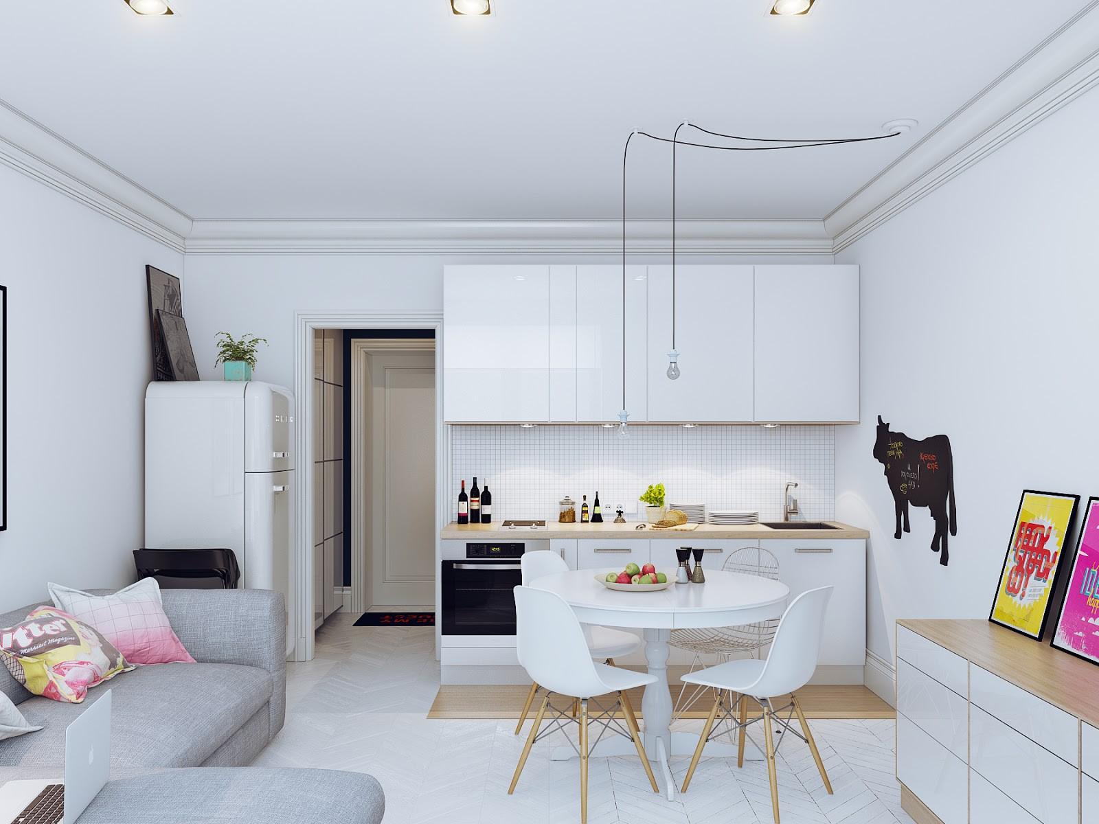 Бежево-белая кухня с серым диваном