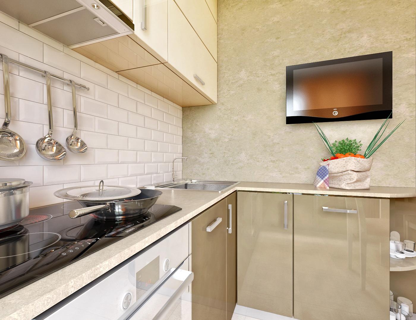 Серо-белый кухонный глянцевый гарнитур в интерьере