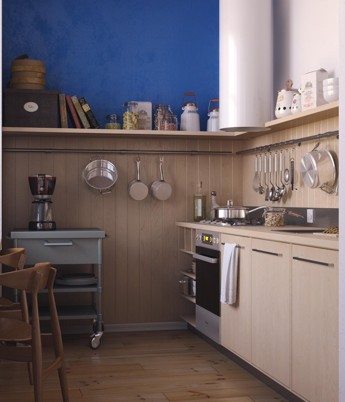 Коричневый, синий и белый цвета в дизайне кухни