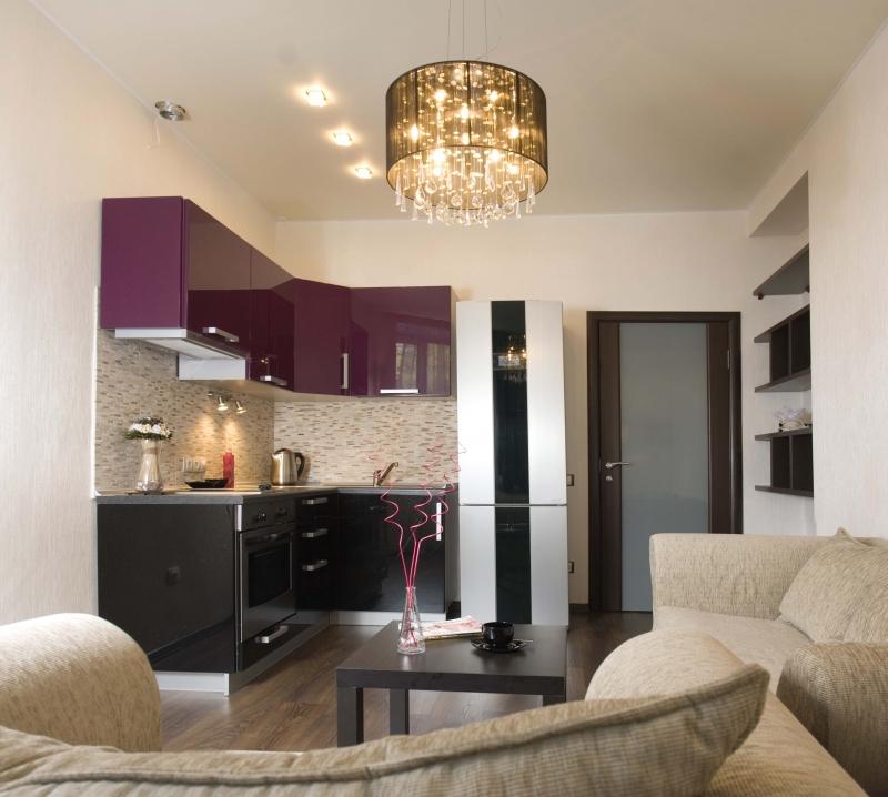 Фиолетово-черный угловой гарнитур в кухне-гостиной
