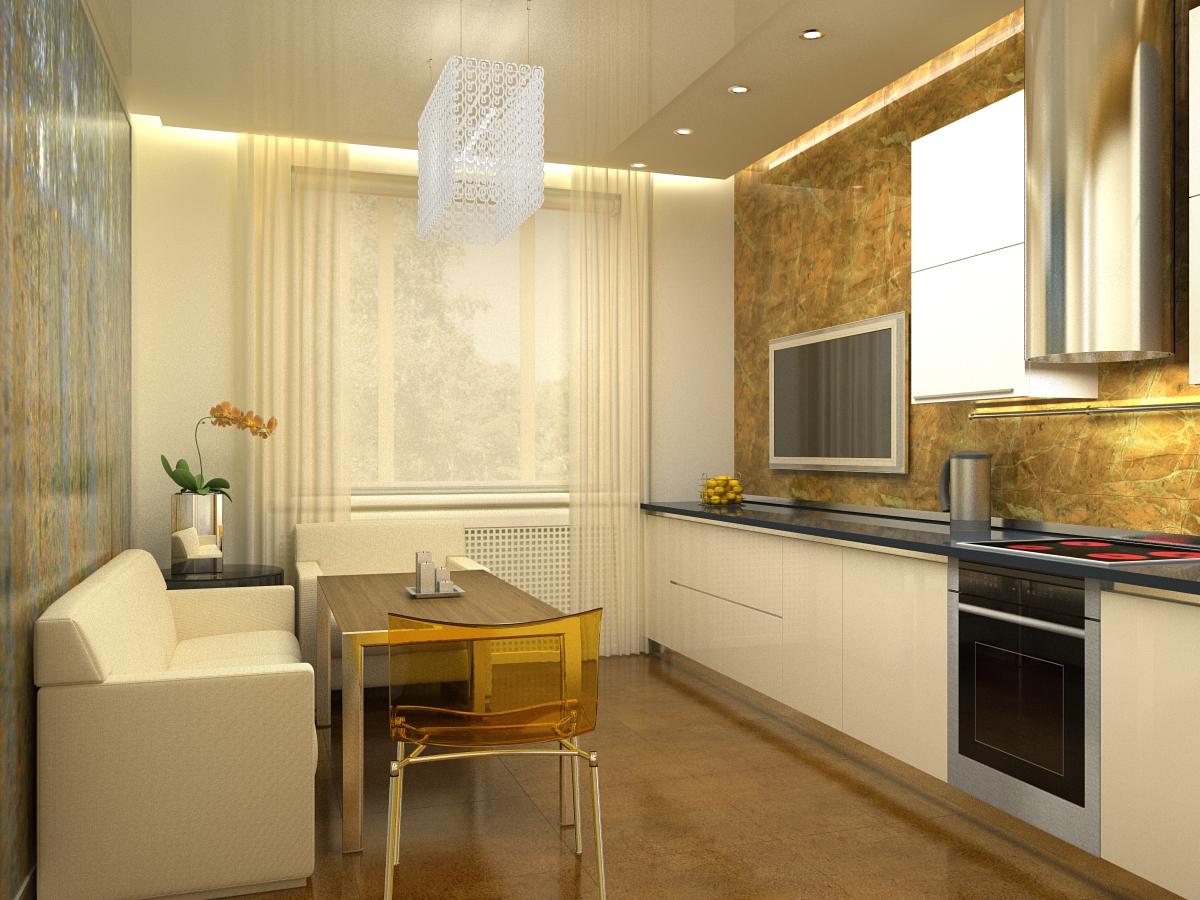 Стильна кухня с диваном