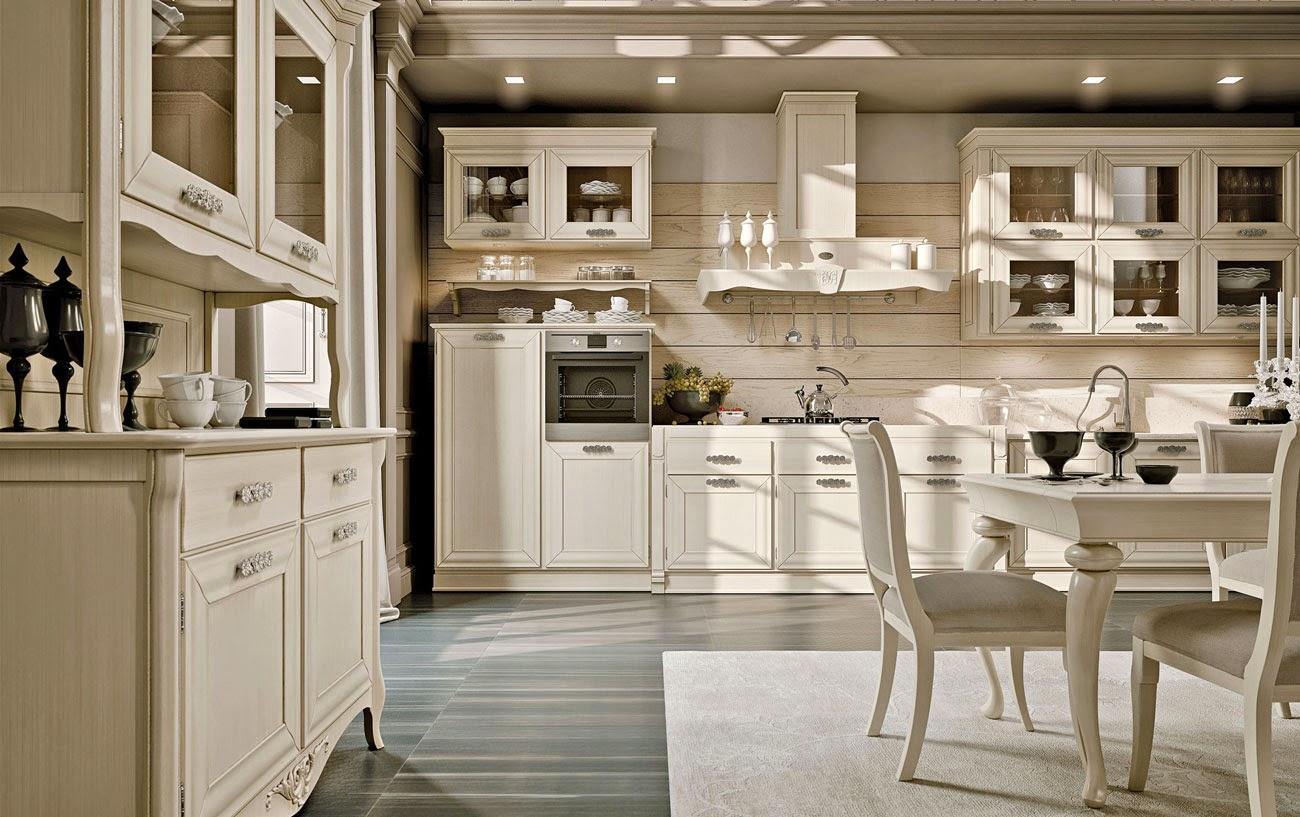 Полосатый пол и бежевый ковер в классической кухне