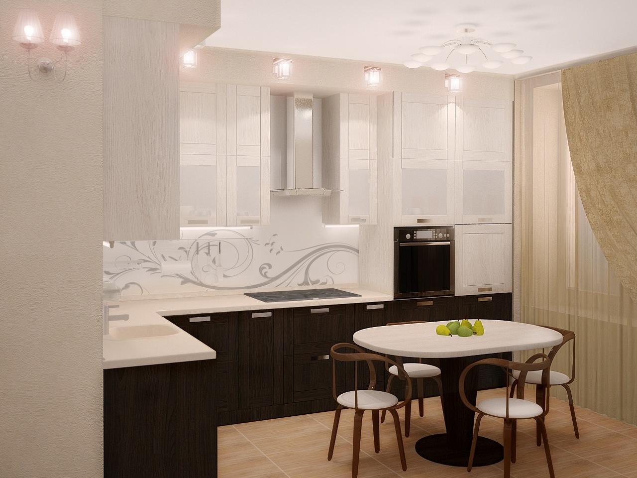 Бежевая плитка на полу на кухне