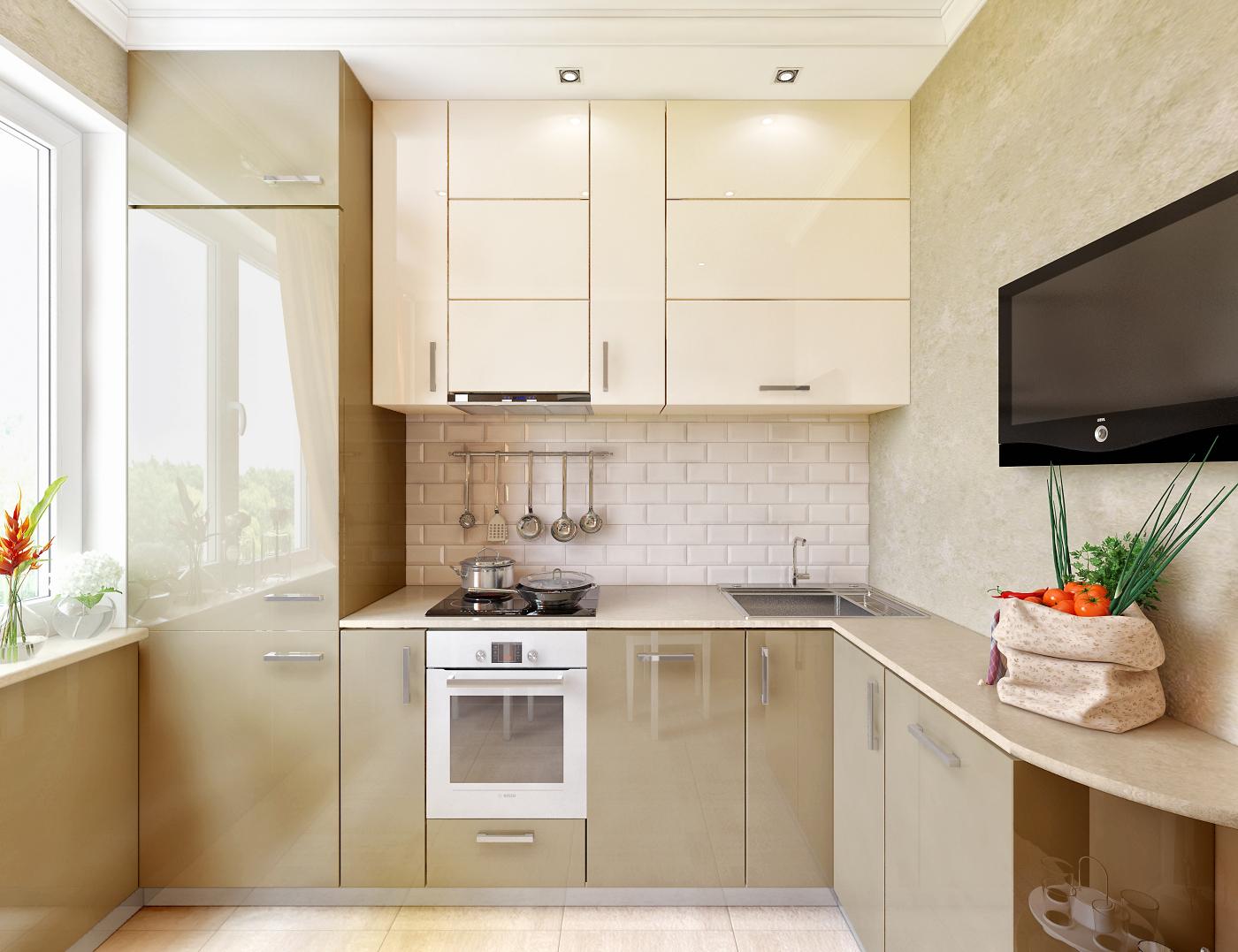 Бежевый дизайн кухни 7 кв м