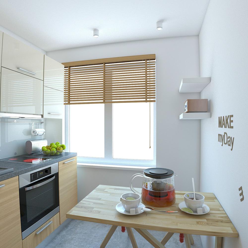 Деревянная мебель в кухне