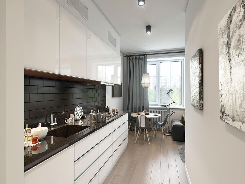 Черно-белая мебель в кухне