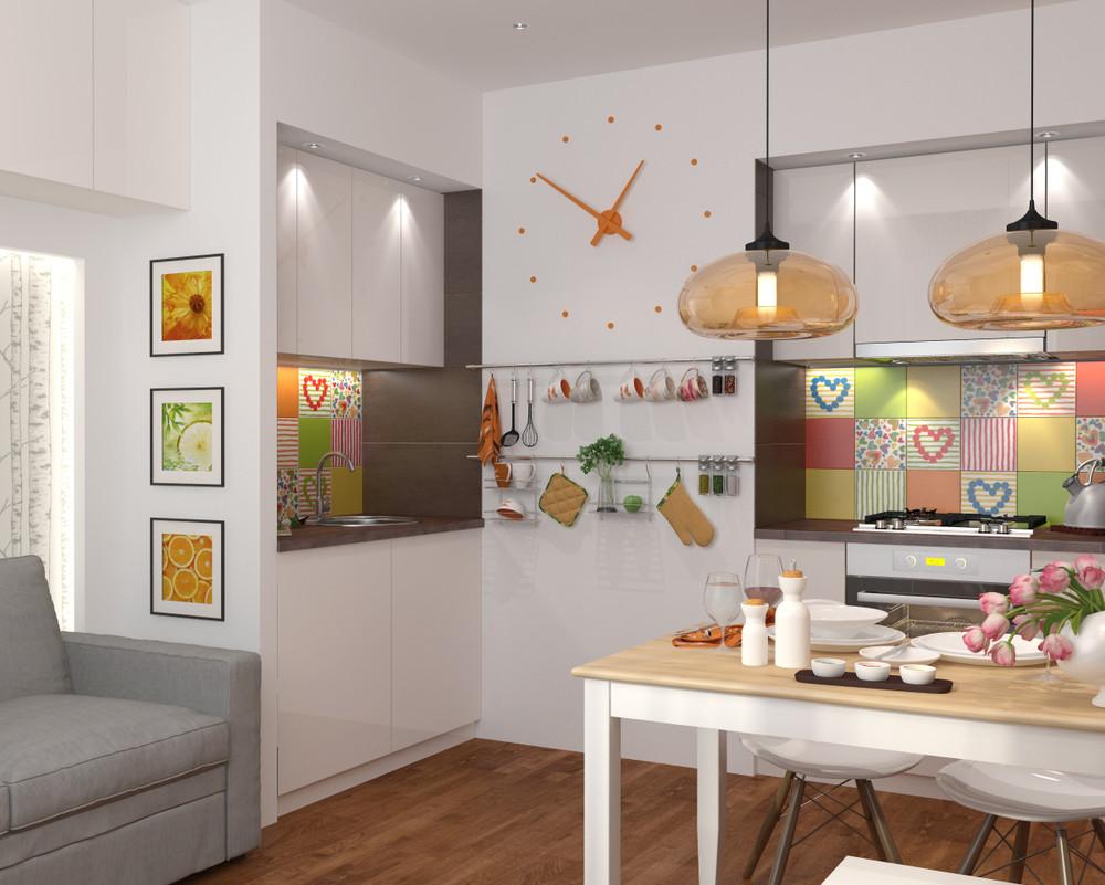 Бежево-белая мебель в кухне