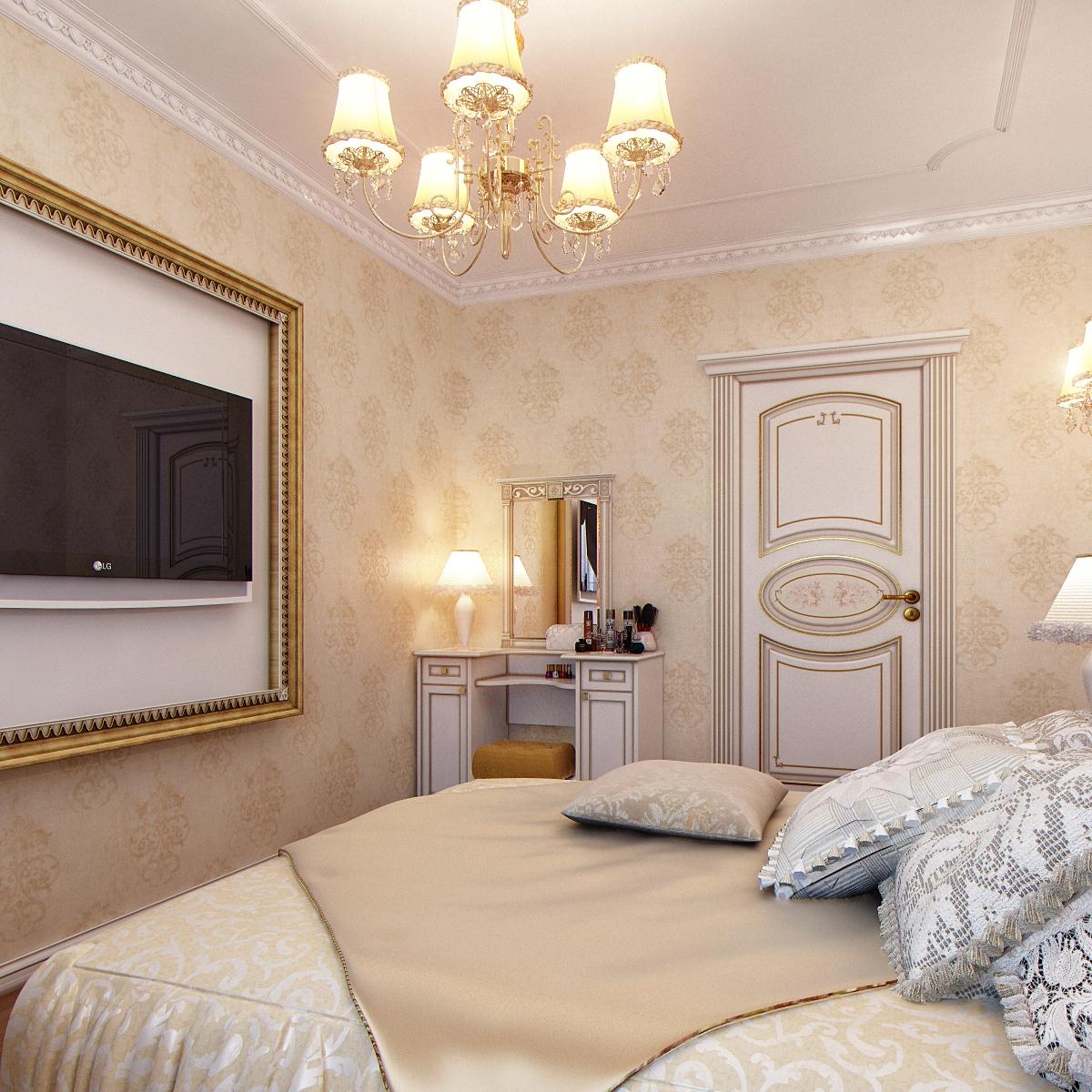 Спальня в классическом стиле 12 кв м