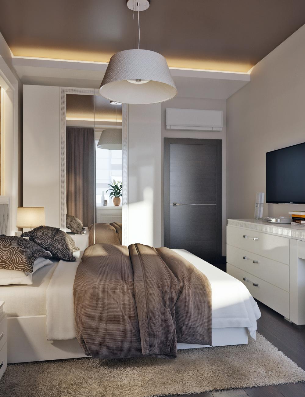 Бежево-коричневый интерьер спальни