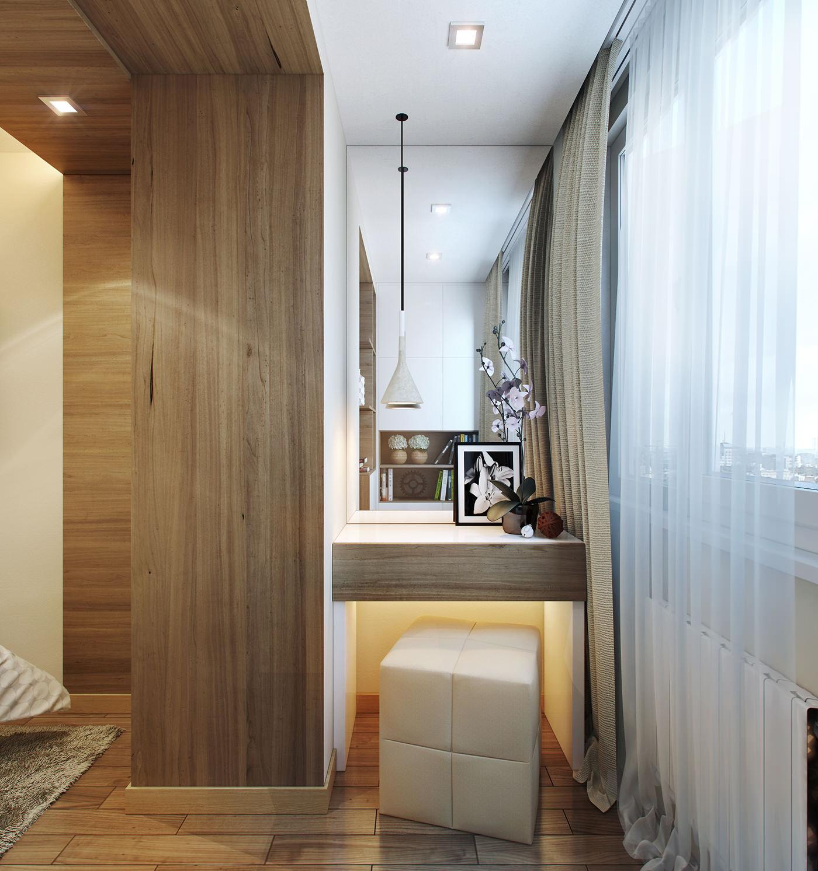 Туалетный столик в совмещенной спальне с балконом