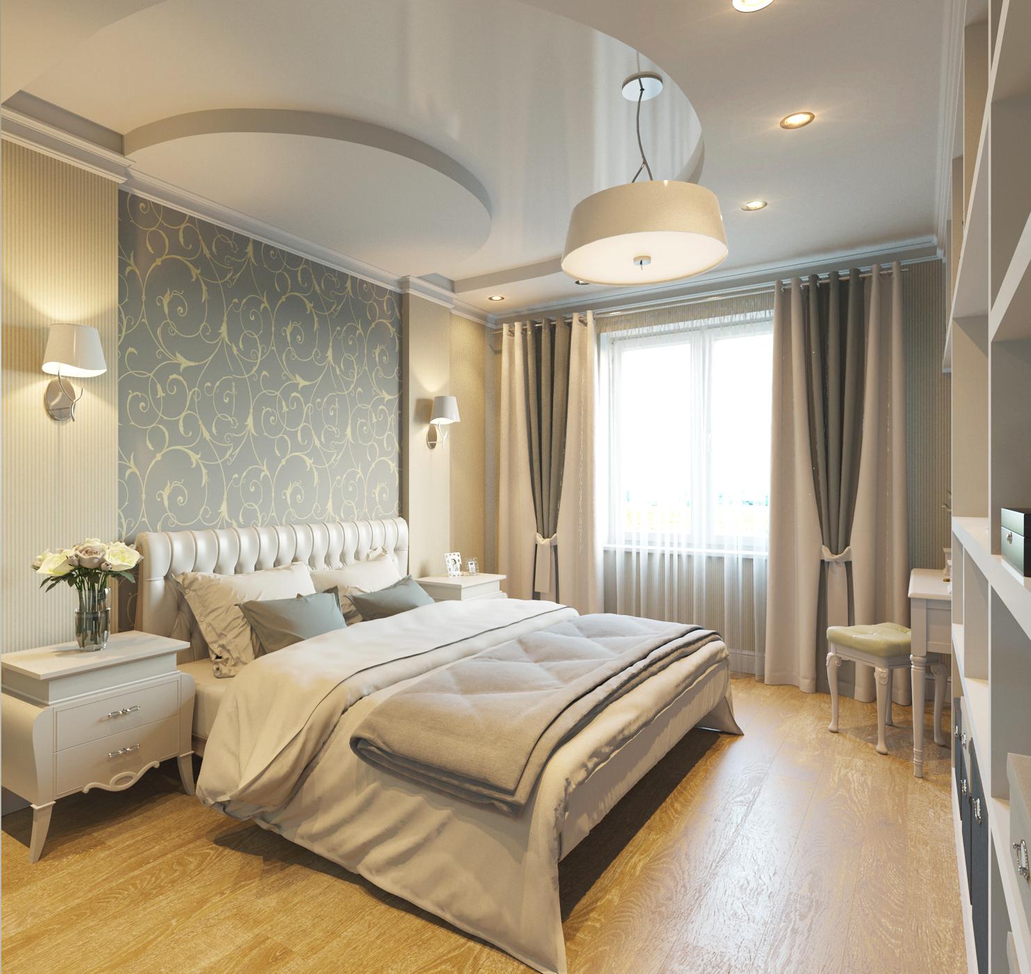 Серо-белая классическая спальня