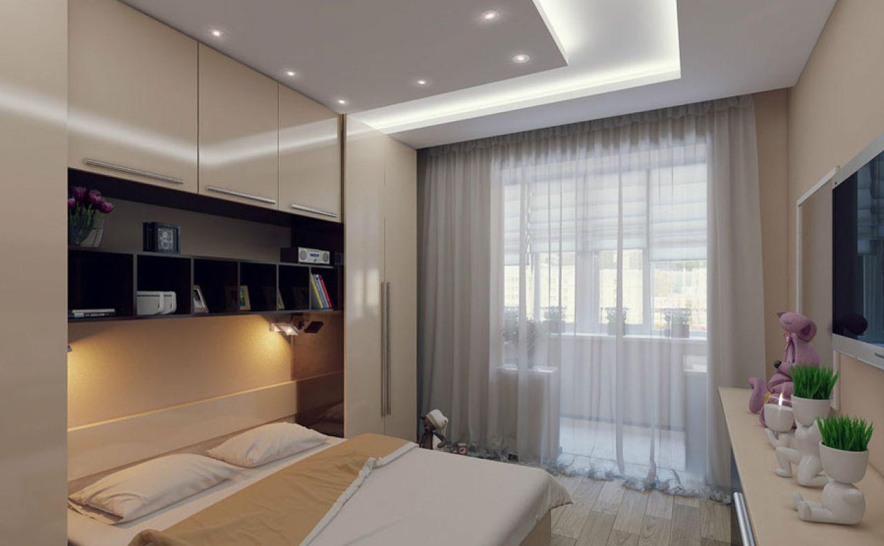 Спальня в бежевых тонах, совмещенная с балконом