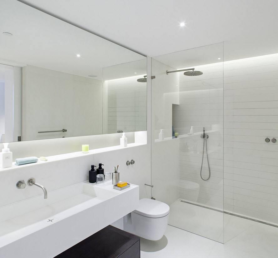 Дизайн ванной 5 кв м в белых тонах