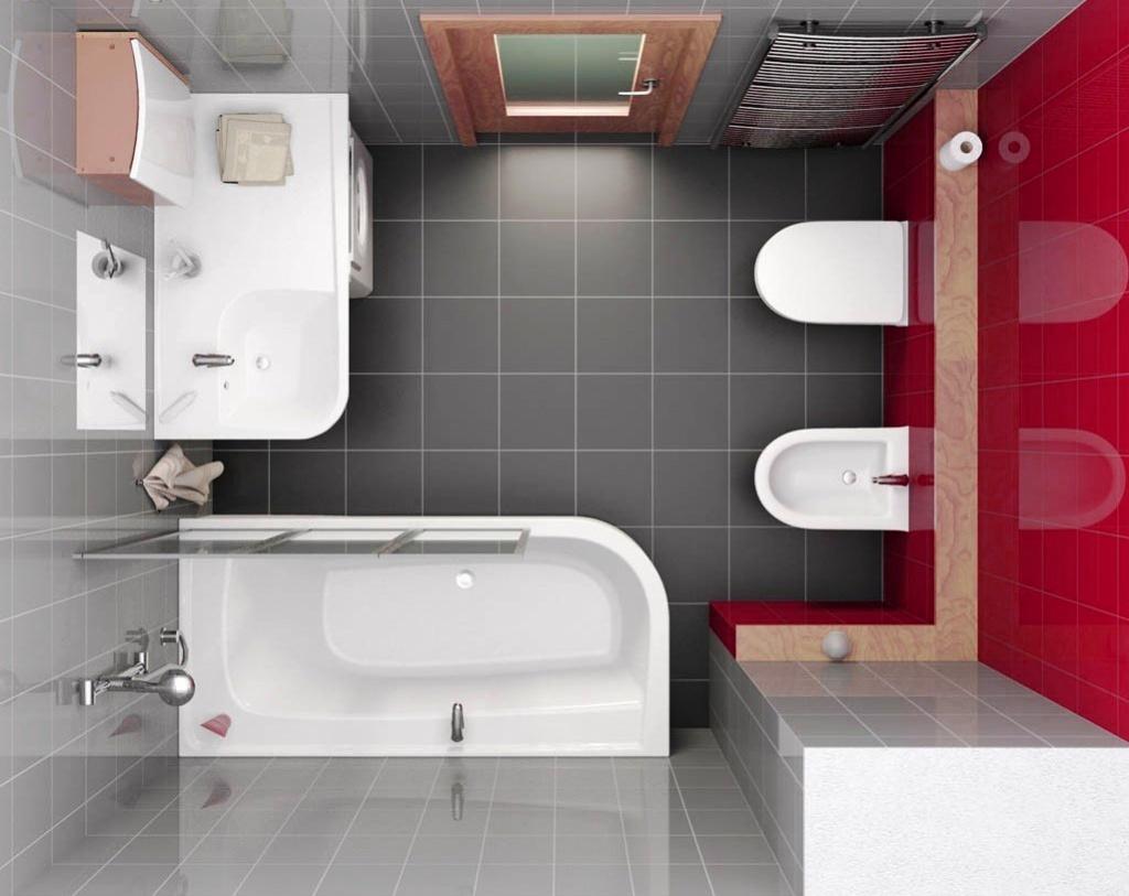 Планировка черно-белой ванной с красной стеной