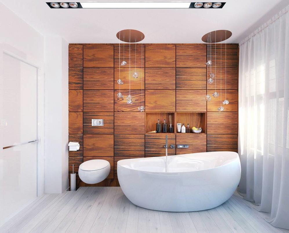 Деревянные панели в дизайне белой ванной