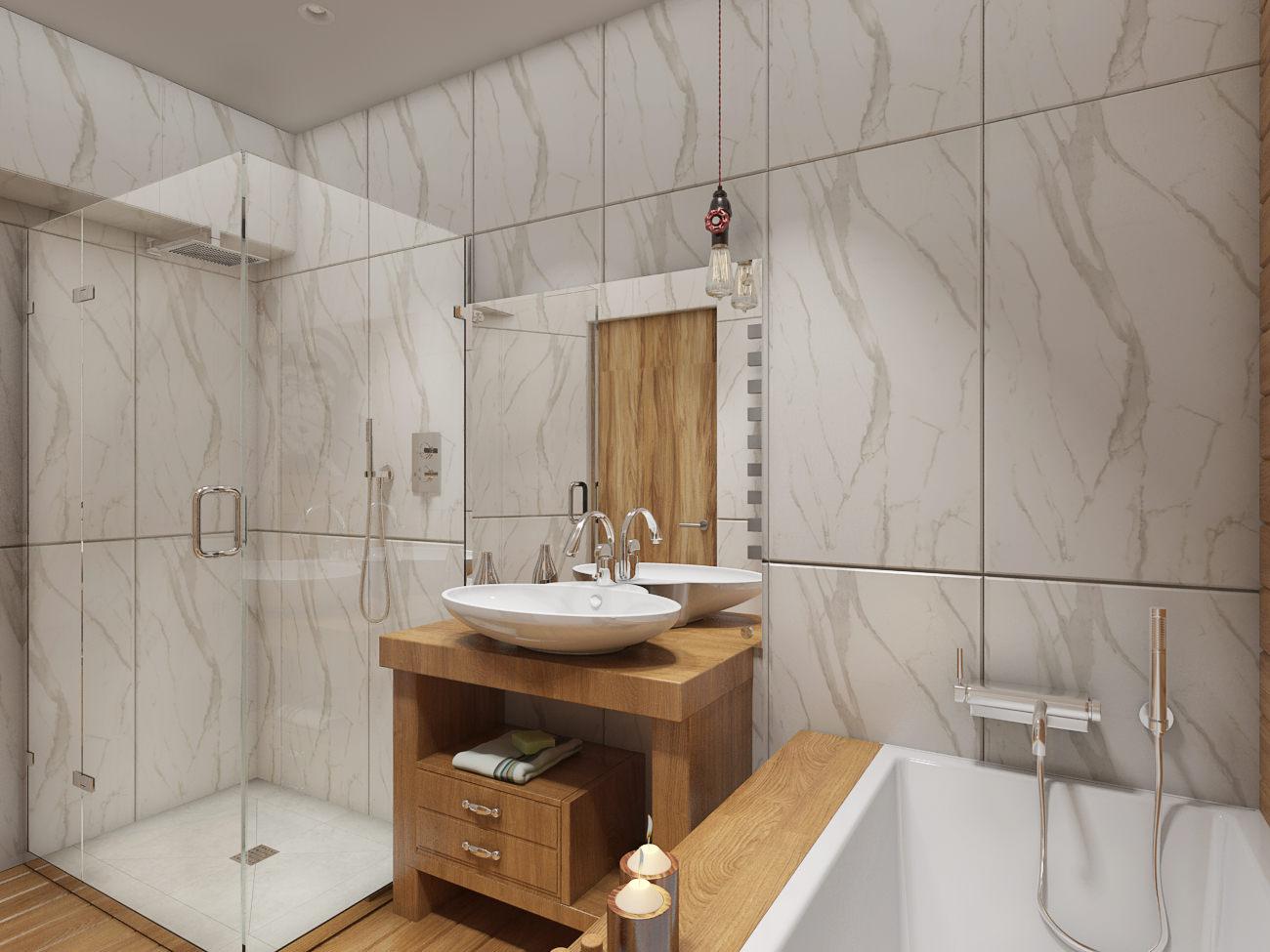 Плитка под натуральный камень и дерево в интерьере ванной комнаты