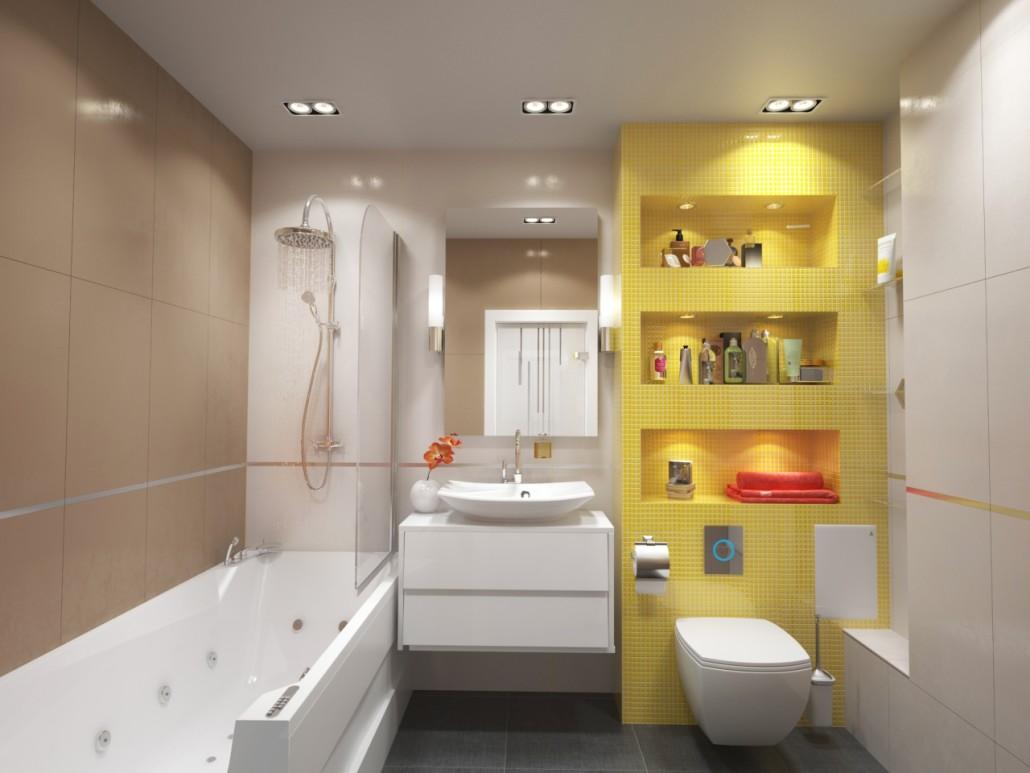 Желтая мозаика в бежево-белой ванной