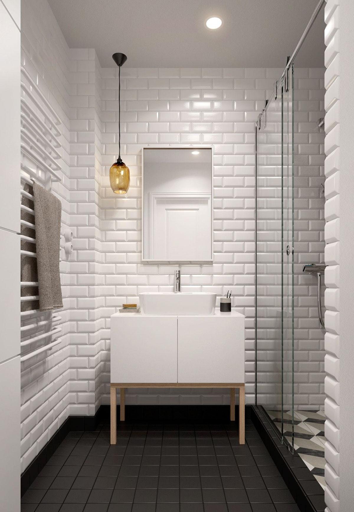 Белая плитка под кирпич в интерьере черно-белой ванной 5 кв м