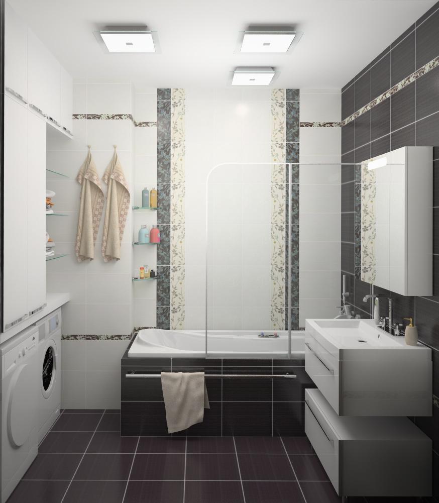 Черно-белый декор ванной комнаты