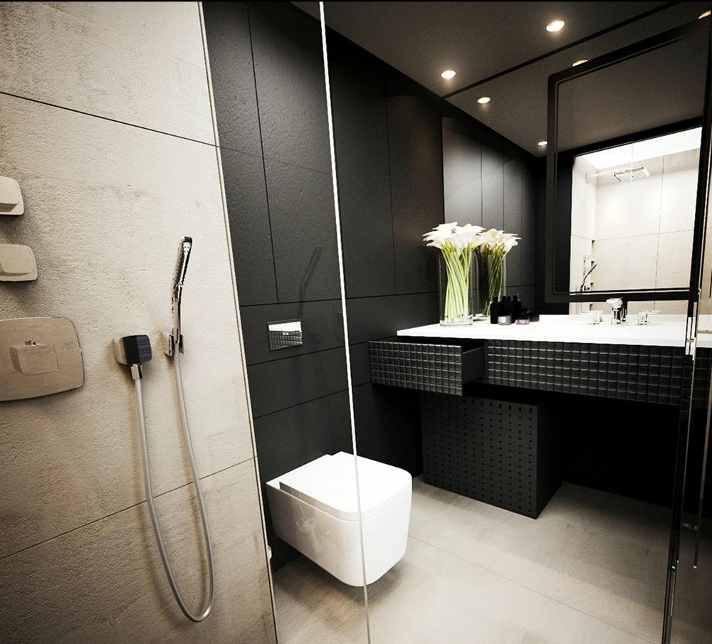 Современный дизайн черно-белой ванной