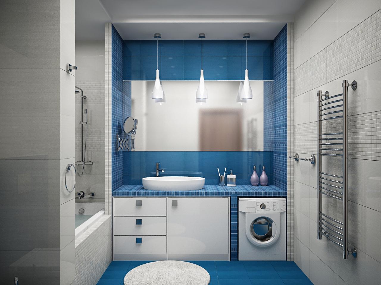 Бело-синяя ванная комната