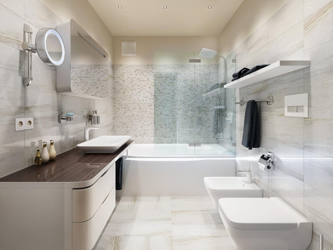 Светлая ванная с темной столешницей