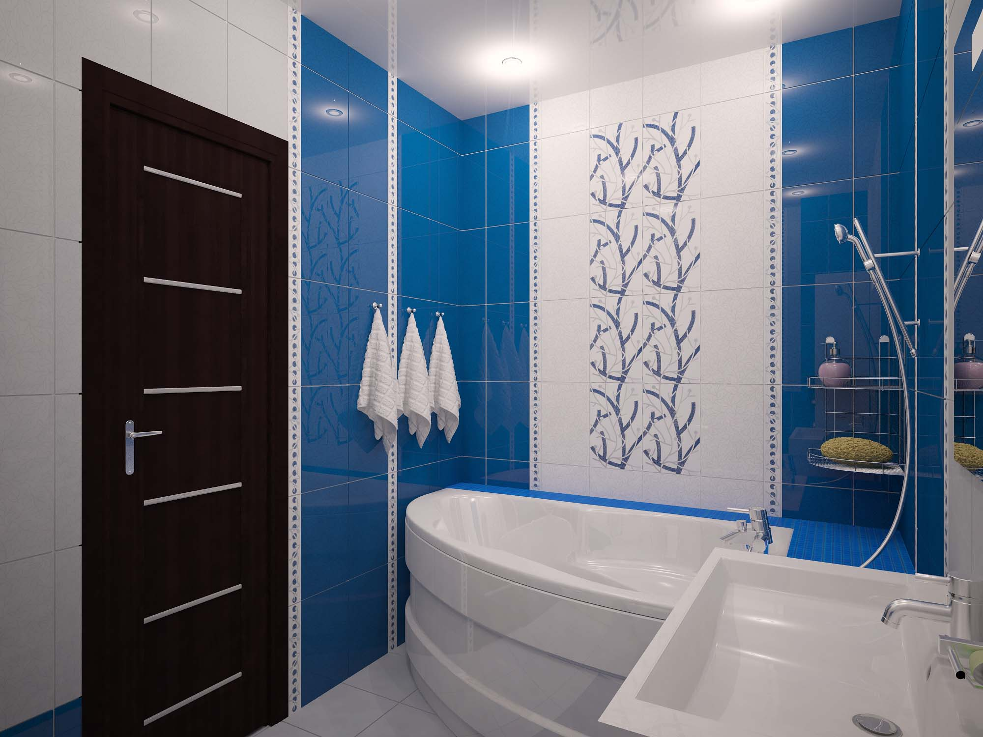 Бело-синий дизайн ванной