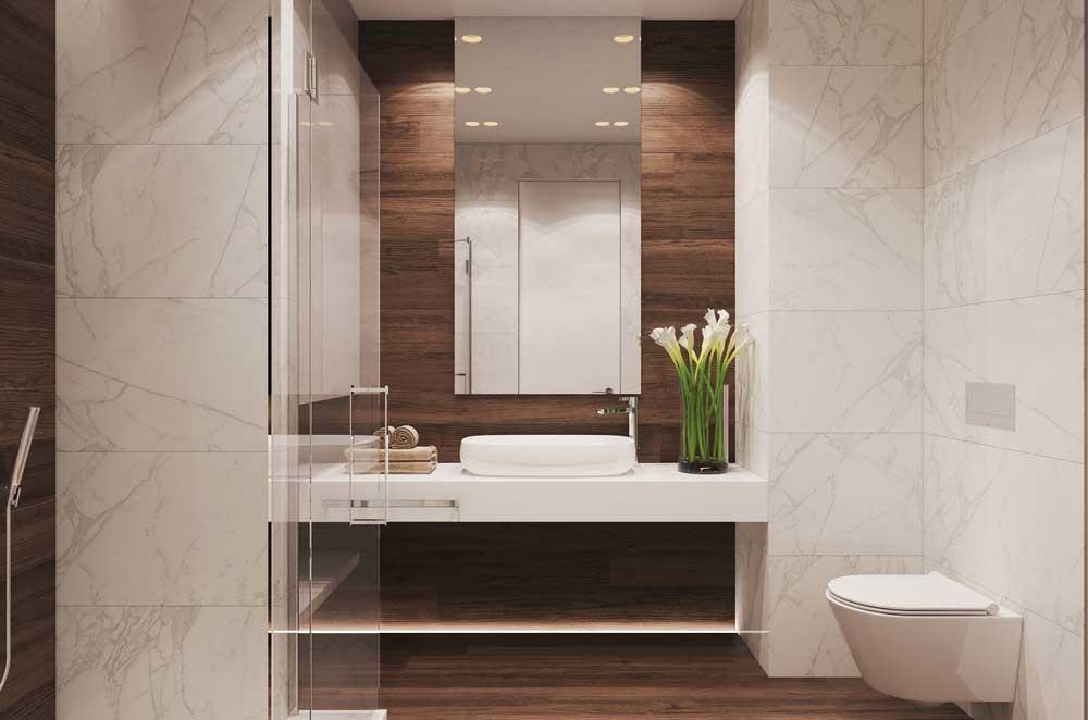 Бело-коричневый дизайн ванной комнаты