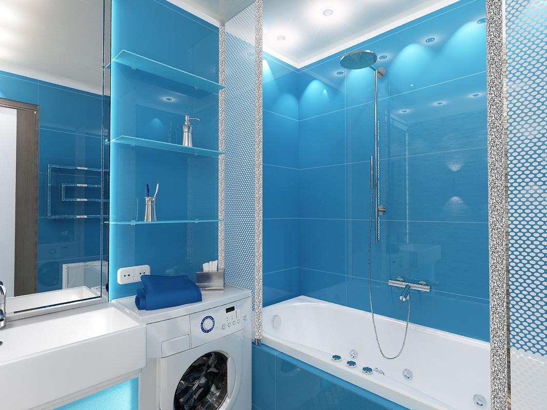 Бело-голубой дизайн ванной комнаты