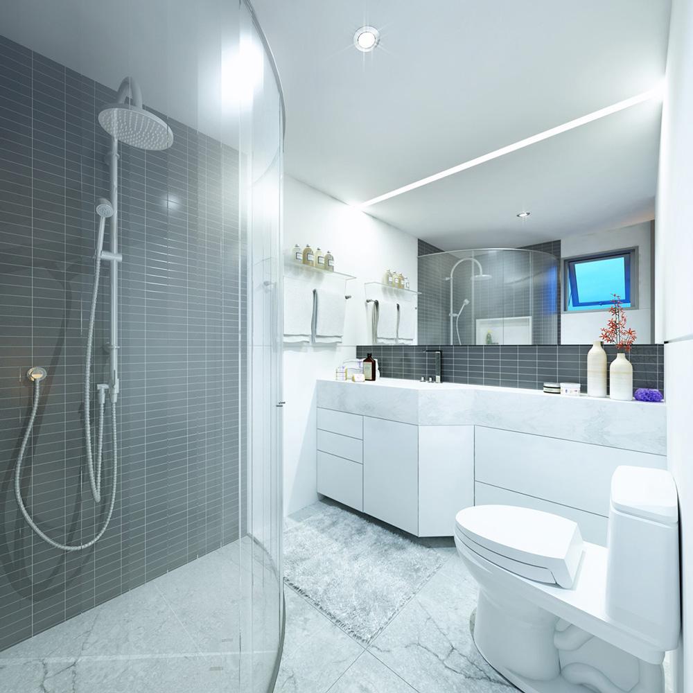 Современный дизайн черно-белой ванной комнаты