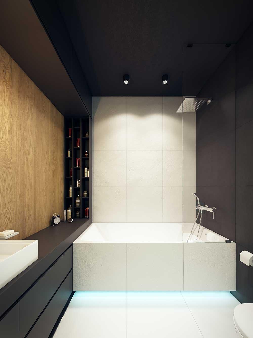 Черный, белый и коричневый цвета в интерьере ванной комнаты