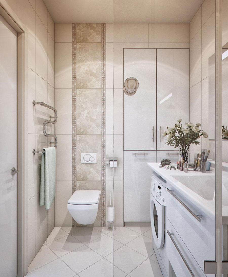 Светлый дизайн ванной 6 кв м