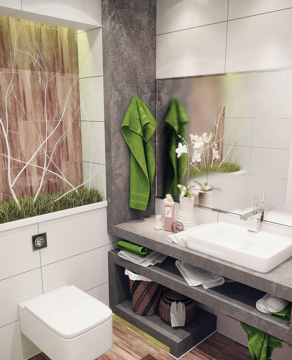 Зеленые акценты в бело-серой ванной
