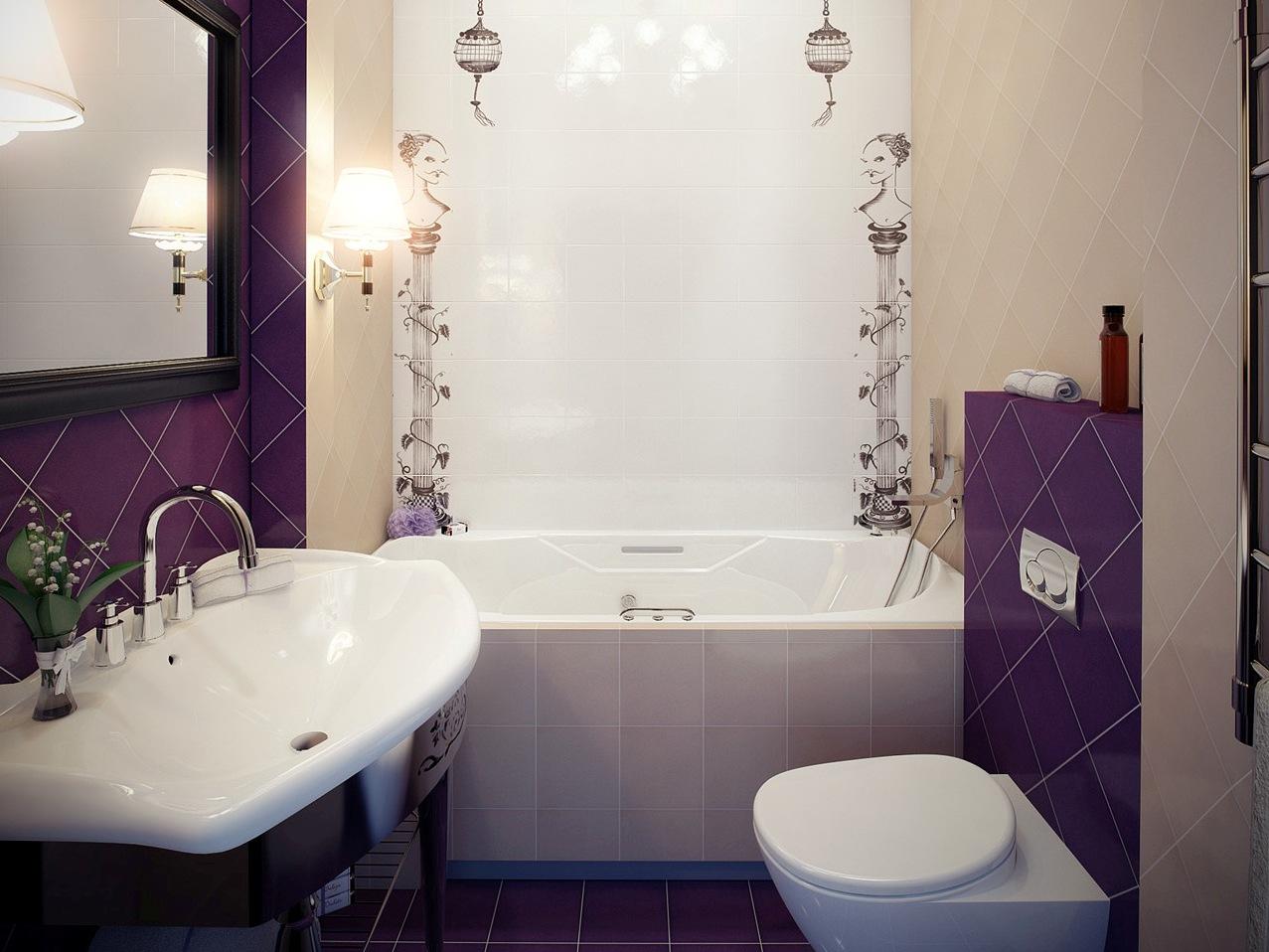 Фиолетово-белая уютная ванная
