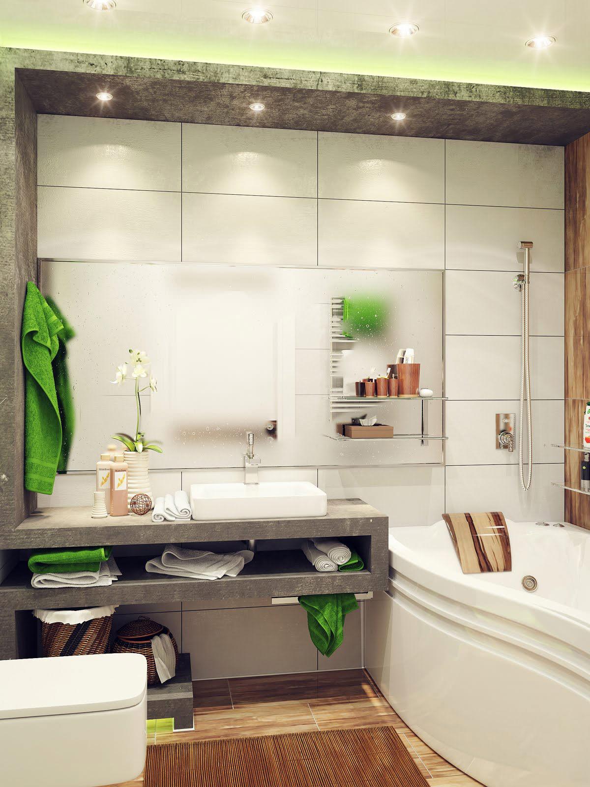 Кафельная белая плитка в отделке ванной комнаты