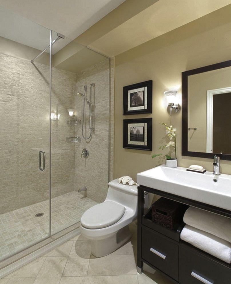 Бежево-черный дизайн ванной комнаты