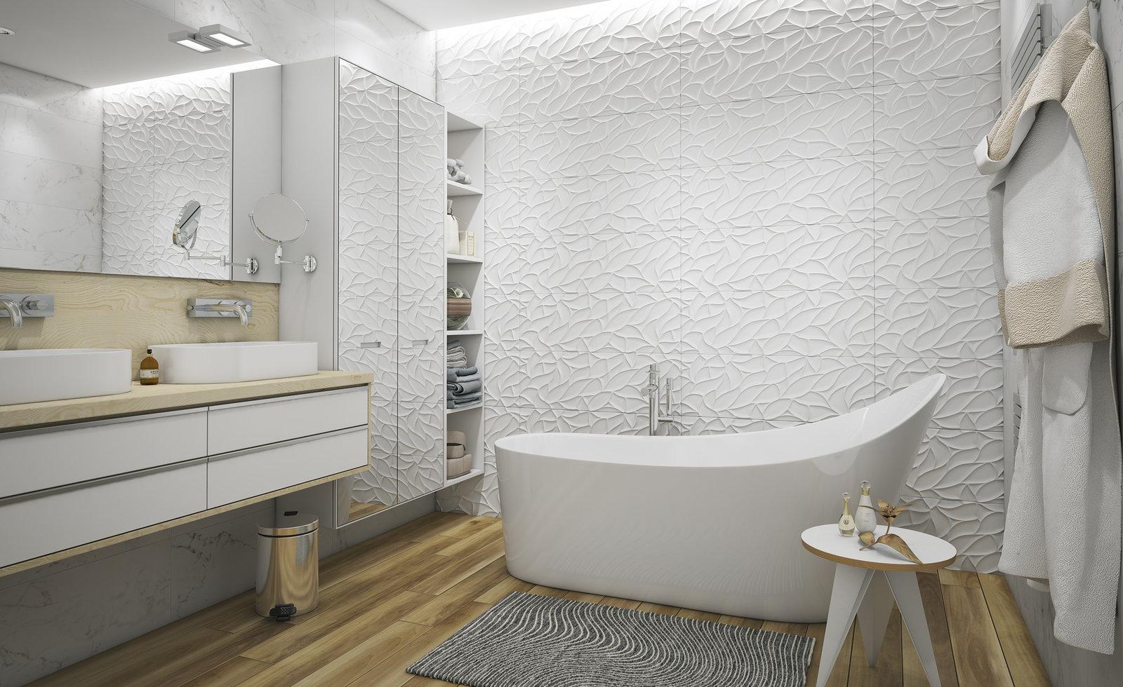 Фактурная отделка в ванной комнате
