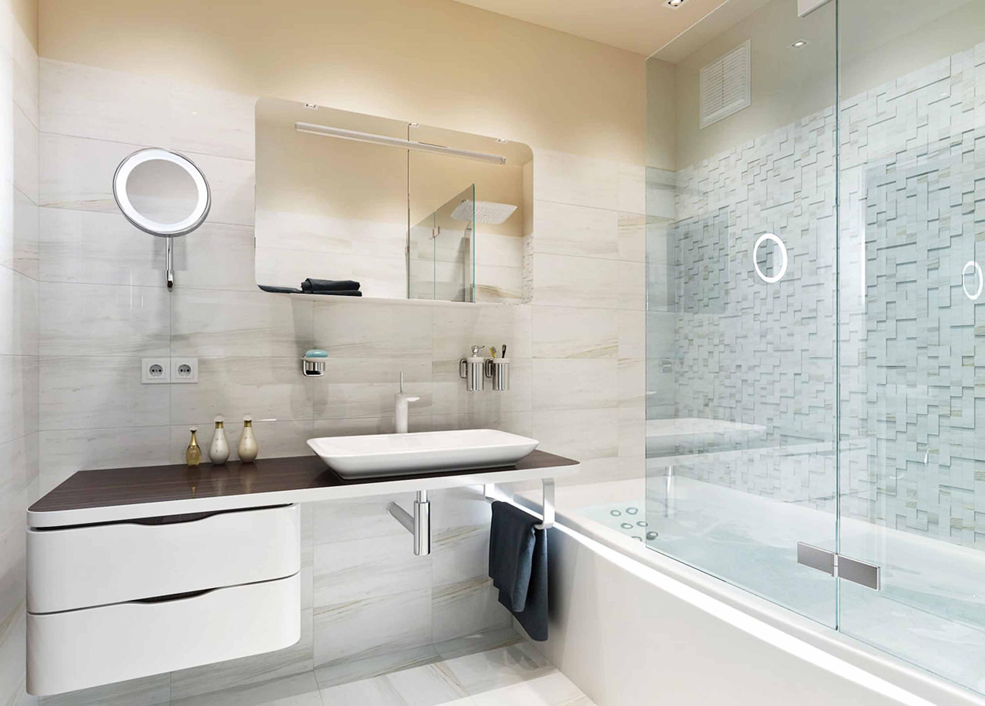 Плитка под камень в интерьере ванной комнаты