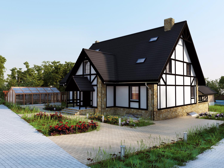 Двухэтажный дом с мансардными окнами в немецком стиле
