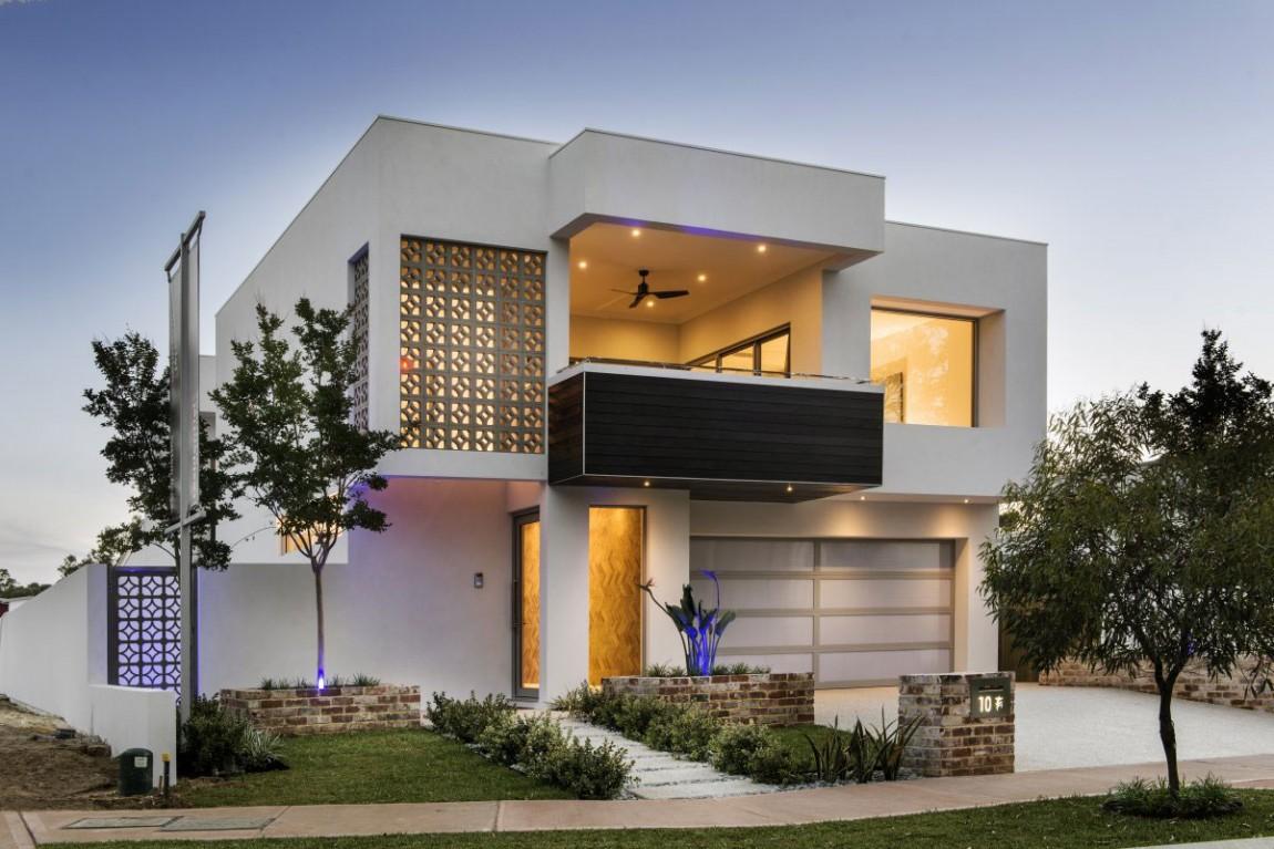Светлый фасад дома в стиле модерн