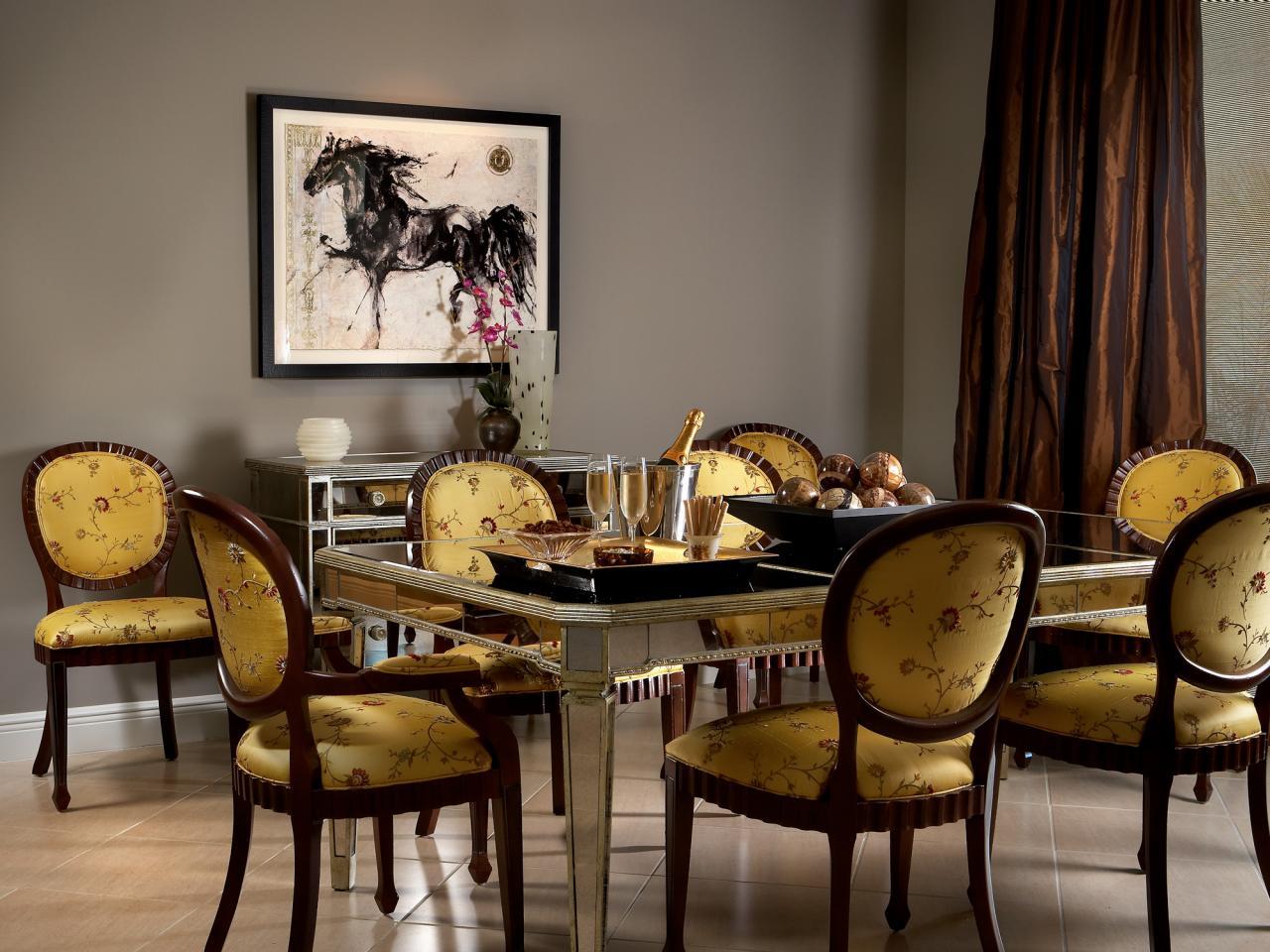 Серый, коричневый и желтый цвета в интерьере столовой в стиле эклектика