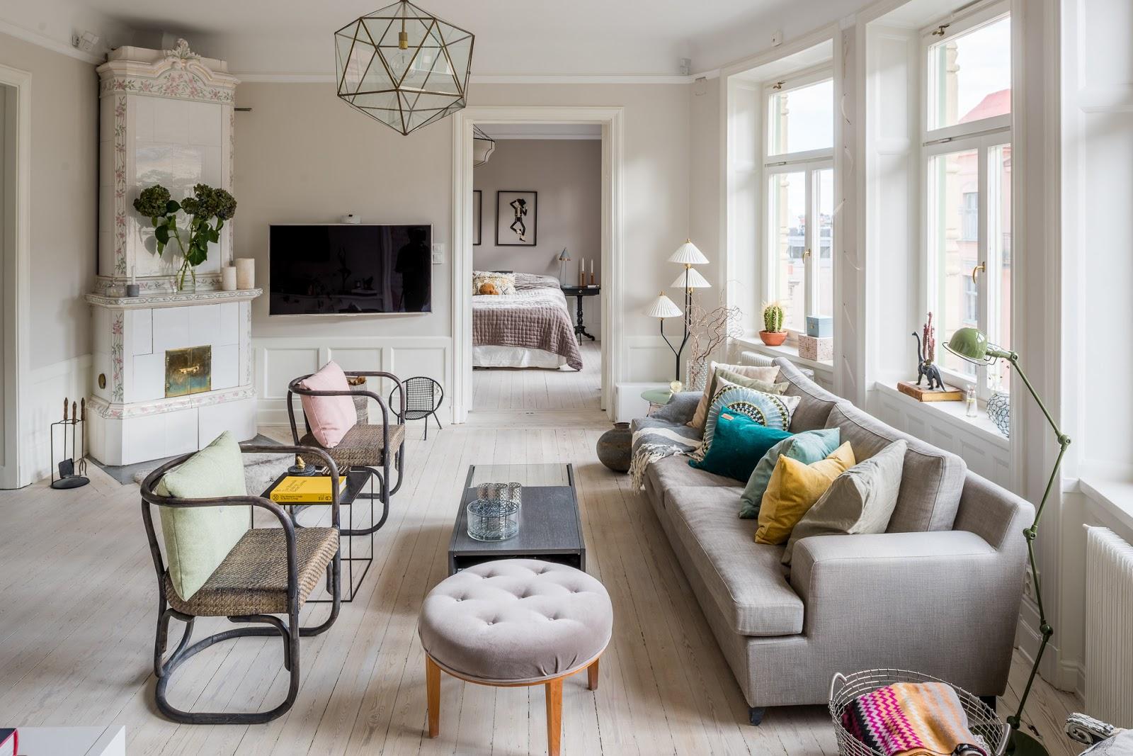 Интерьер квартиры в серых тонах в стиле эклектика