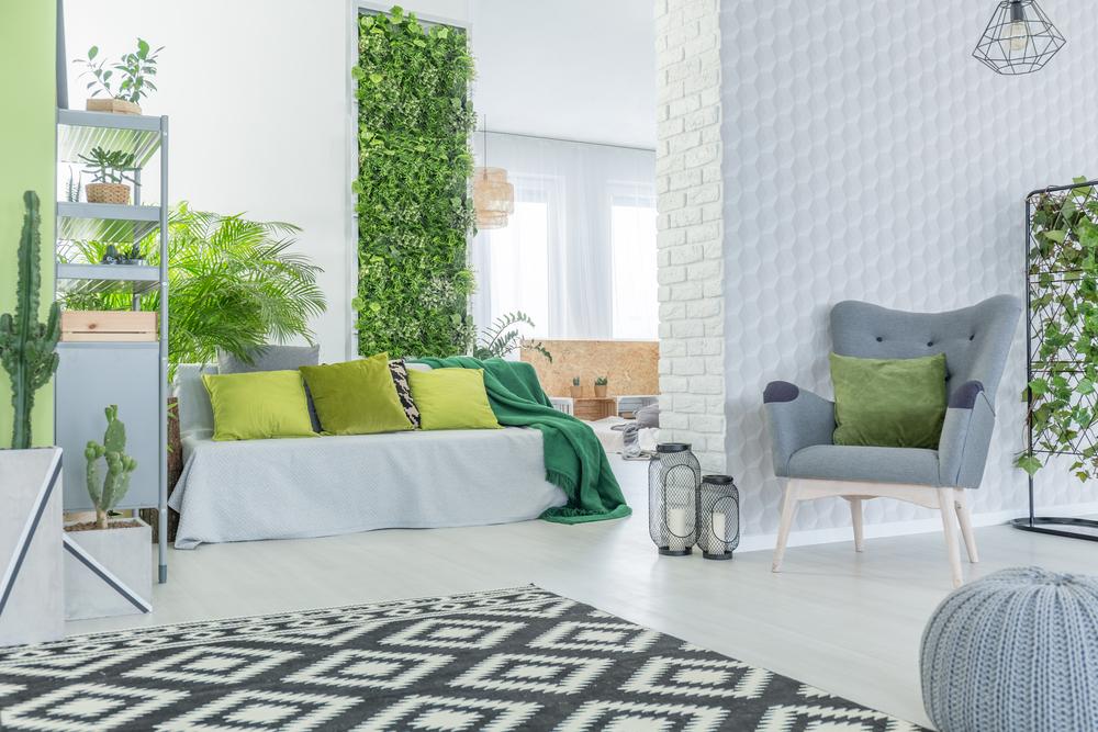Серо-зеленая гостиная