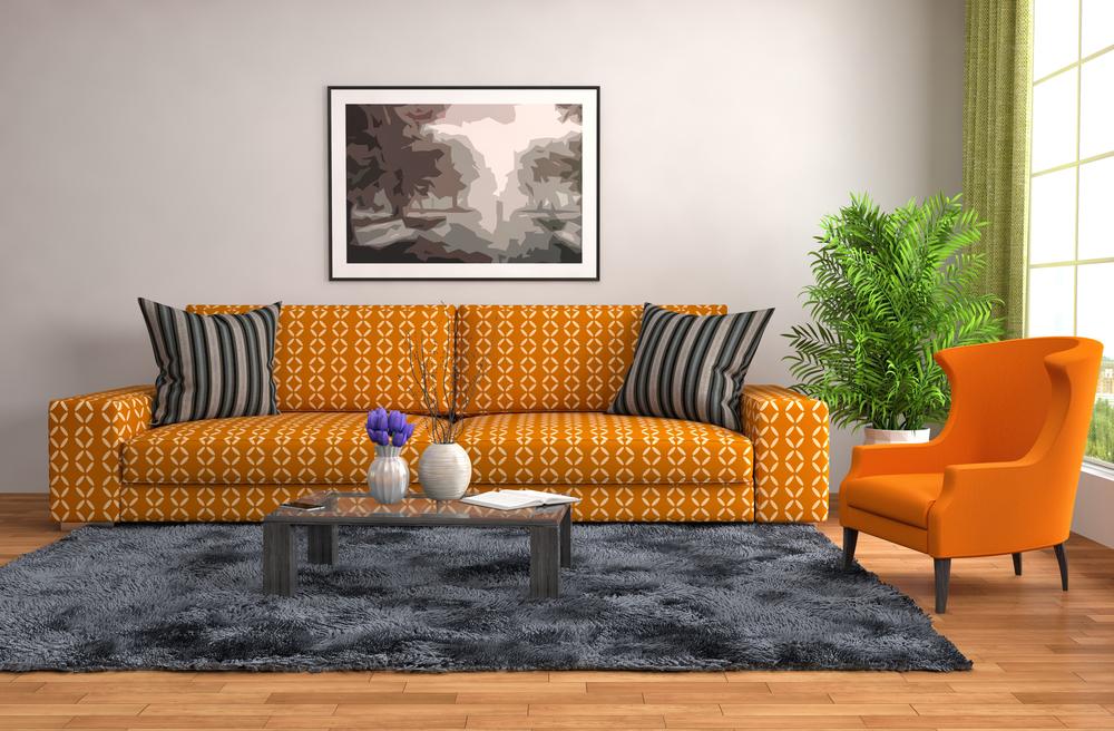 Серо-оранжевая гостиная