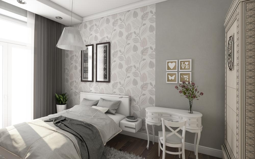Светло серая спальня
