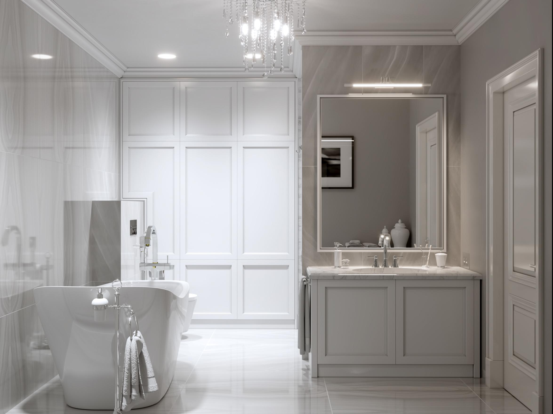 Серая ванная в классическом стиле