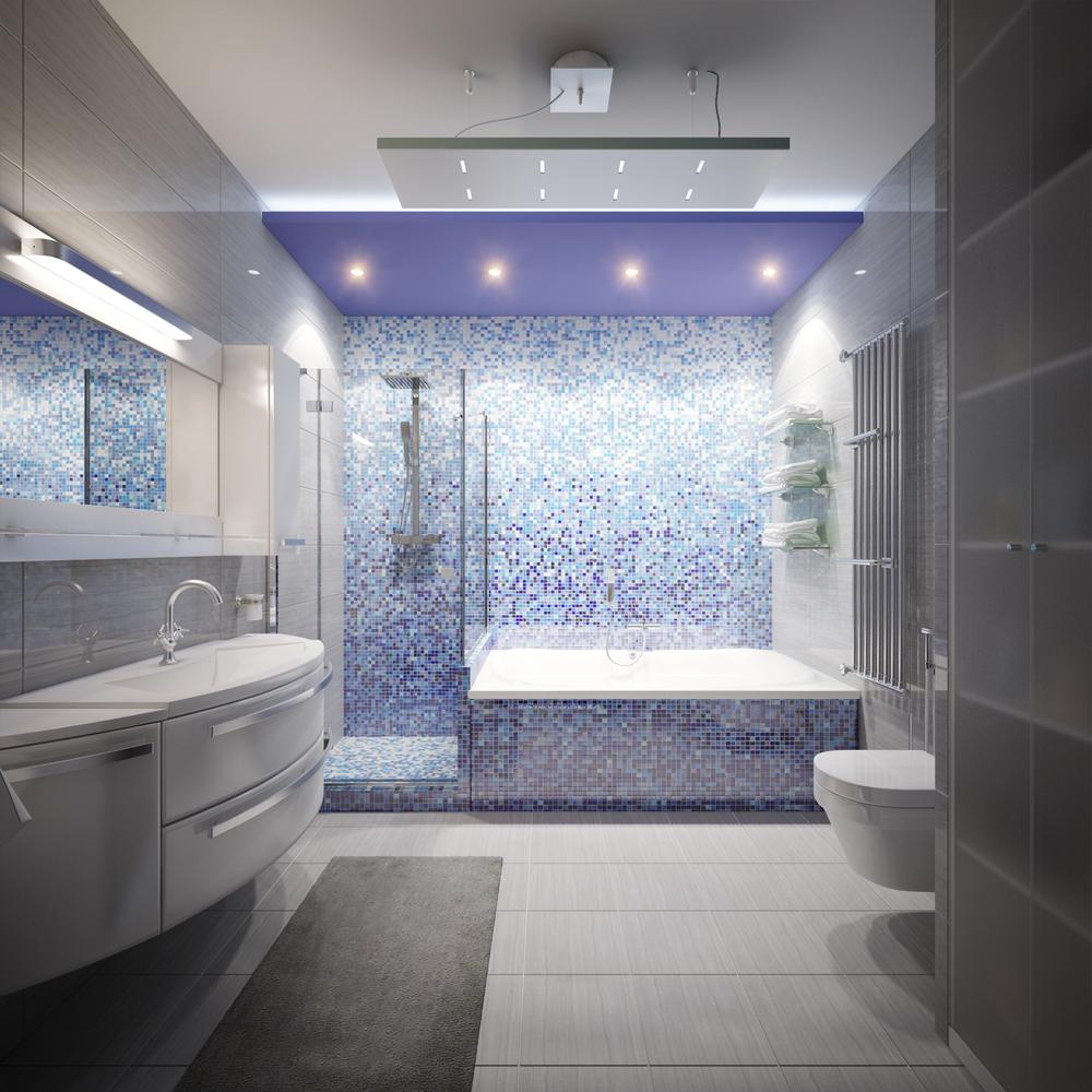 Серо-фиолетовая ванная в стиле модерн